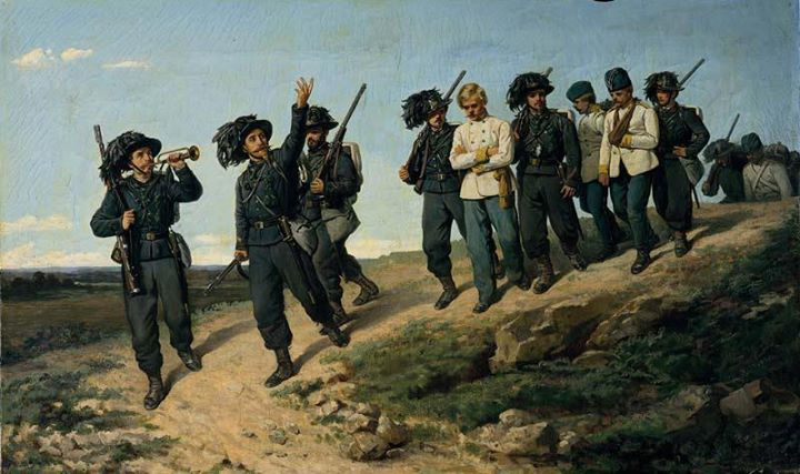 Silvestro Lega: Ritorno dei bersaglieri da una ricognizione 1861