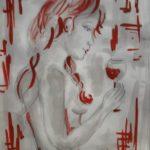 Donna nuda beve un calice di vino - dipinto con aglianico, falanghina e malaga