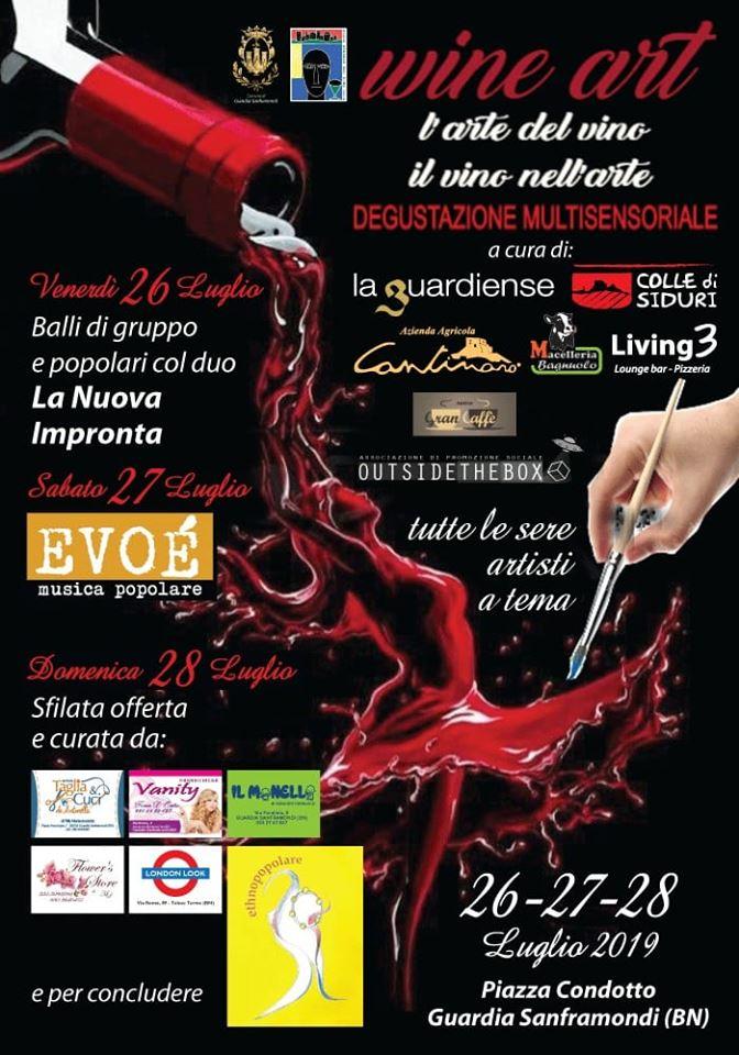 Locandina dell'evento Wine Art 2019 a Guardia Sanframondi, organizzato da Bruno Pigna, titolare del Living 3