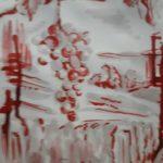 Uva, viti e vigna - disegno fatto con vino