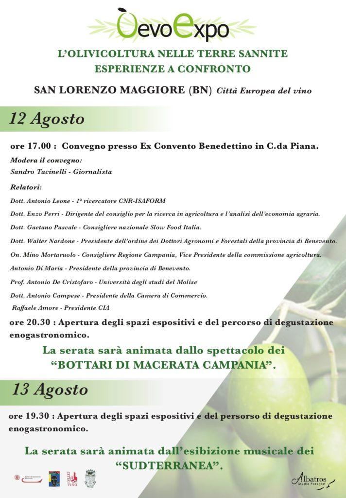 Programma OEVO Expo San Lorenzo Maggiore, 12 e 13 agosto 2019