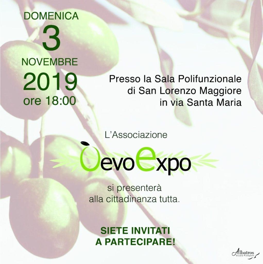 Locandina presentazione associazione O'Evo Expo - 3 novembre 2019